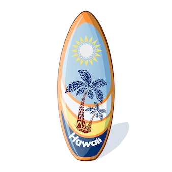 Surfboard with a pattern from the palm trees and sun.