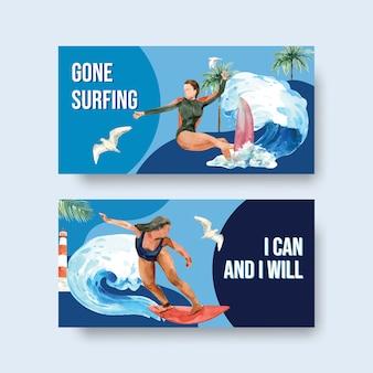 여름 휴가 열대 및 휴식 수채화 벡터 일러스트 레이 션을위한 해변 디자인에서 서핑 보드