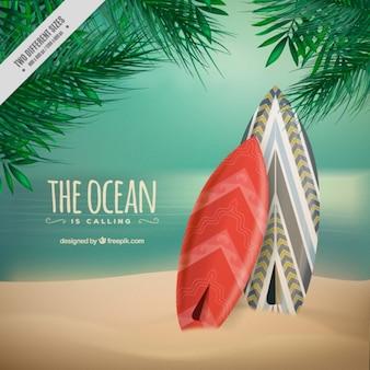 Surfboards в песке фоне
