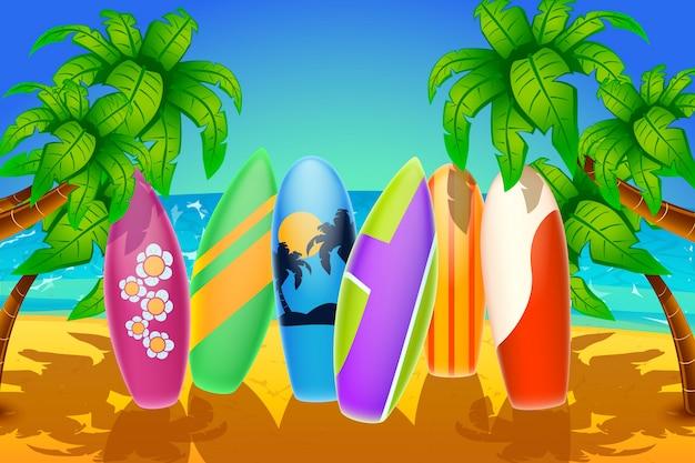 해변에서 서핑 보드