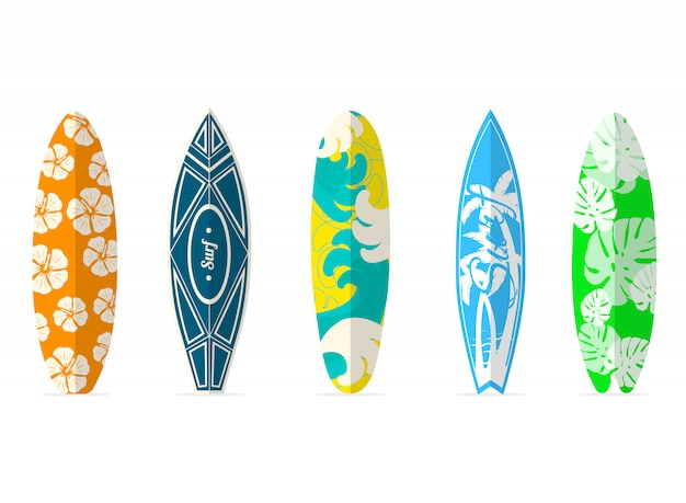 Surfboards set with different bright and unusual pattern designs.