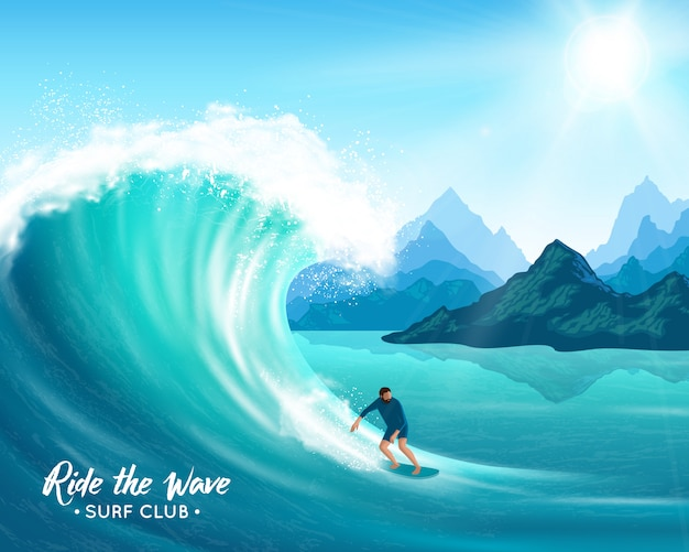 Серфер и большая волна иллюстрации