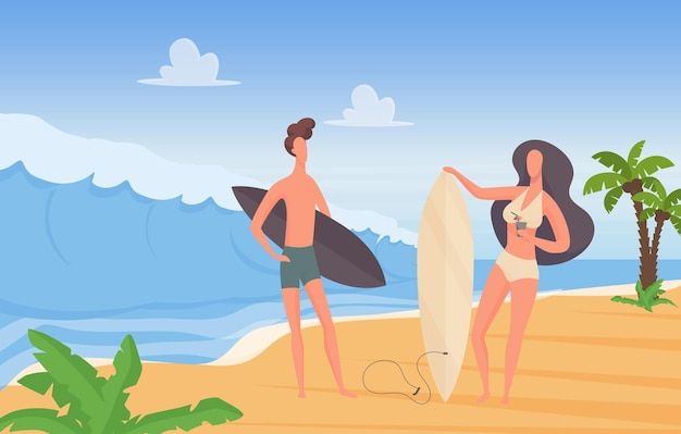 Surfer couple people with surfboards on summer sport travel extreme vacation adventure