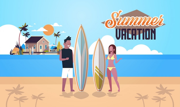 Surfer couple summer vacation man woman surf board on sunset beach villa house tropical island lettering