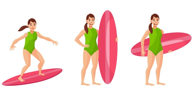 Surfer in different poses. female person in cartoon style.