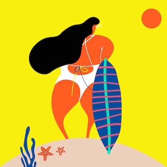 해변에서 서퍼 여자