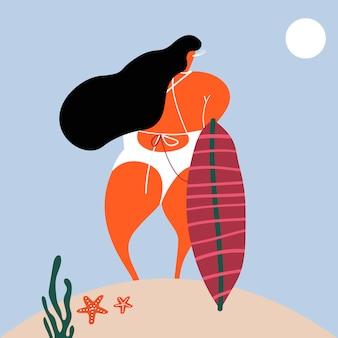 Серфер девочка на пляже