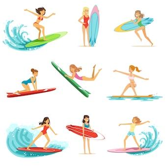 白い背景の上の波セット、さまざまなポーズのイラストのサーフボーダーに乗っているサーファーの女の子