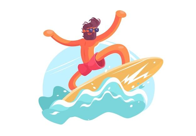 Серфер парень на волне иллюстрации. бородатый мужчина, наслаждаясь летним временем плоский стиль.