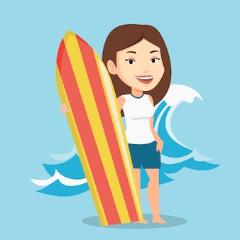 Surfer holding surfboard vector illustration.
