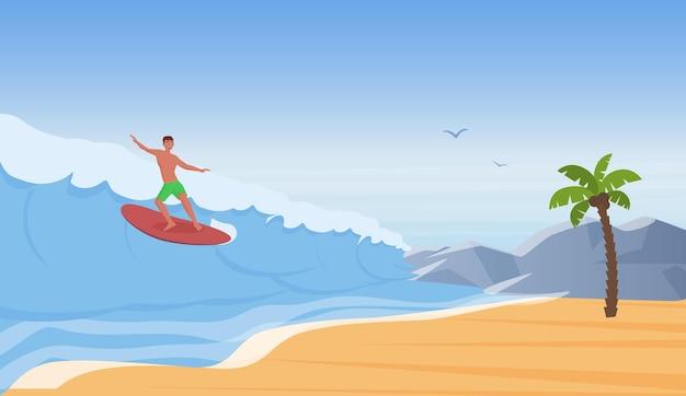 서퍼 사람들이 서핑을 타고 바다 해변에서 물결을 타고 서핑 보드에서 서핑하는 행복 한 젊은 사람