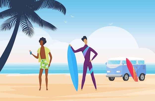 Surfer people surf on tropical summer beach landscape standing with surfboard and van