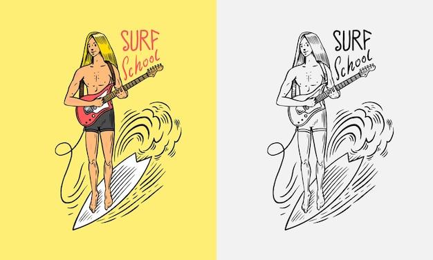 서퍼는 보드 여름 서핑 기호에서 파도를 타고 남자는 기타 캘리포니아 카드 빈티지를 연주