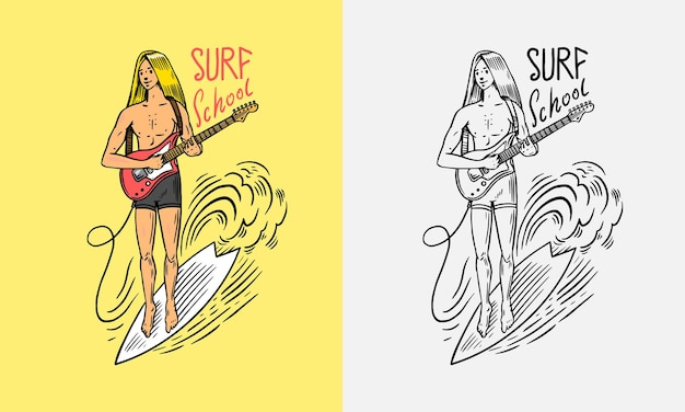 Surfer rides the waves on a board summer surf sign the guy plays the guitar california card vintage