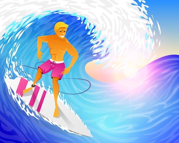 서퍼 서핑 보드와 함께 푸른 바다 파도 타고입니다. 주말에 근육 질의 남자.