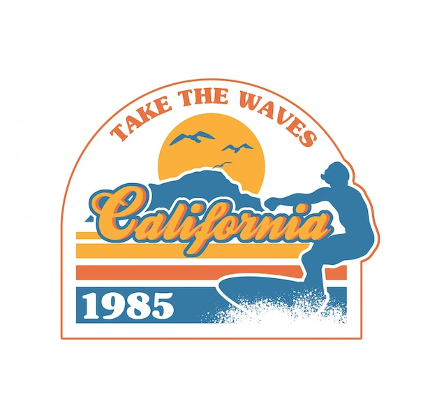 カリフォルニアの海のビーチの楽園の場所で大きな波に乗っているサーファー。