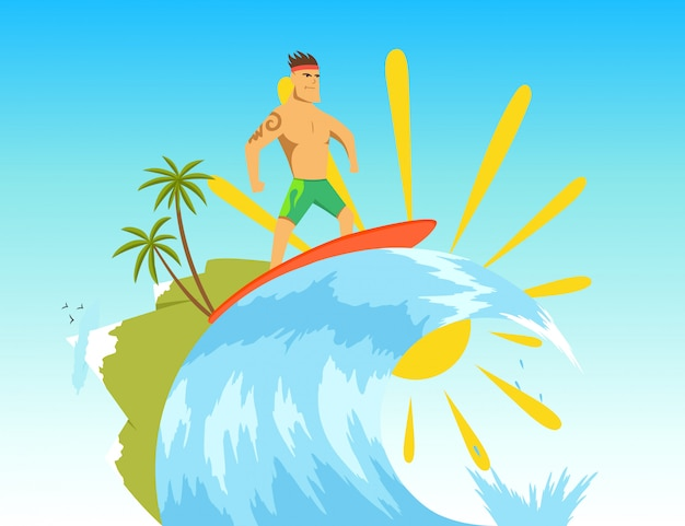 Surfer riding the wave. illustration in flat stile.