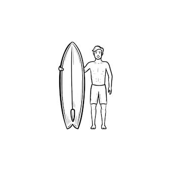 Серфер, стоя с доской для серфинга рисованной наброски каракули значок. профессиональный серфер, концепция активного отдыха