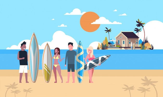 Surfer team summer vacation people group surf board on sunset beach villa house tropical island
