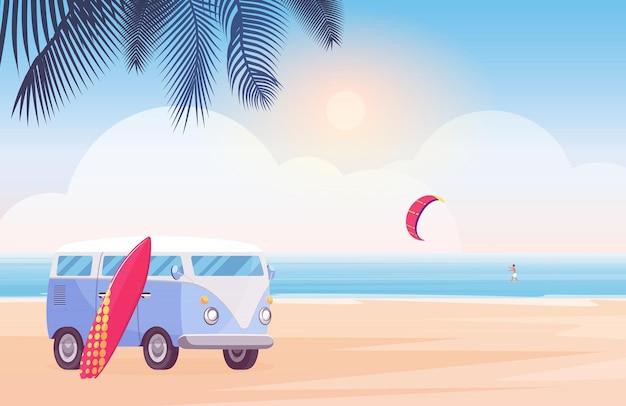 열 대 해변에서 서핑 보드와 서퍼 여행 버스, 바다 파도에서 서핑하는 서퍼 캐릭터