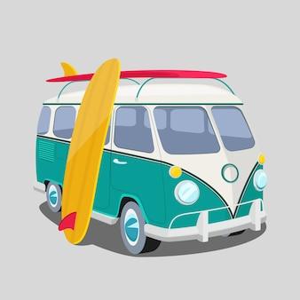 서퍼 밴. 교통 및 서핑, 스포츠 보드