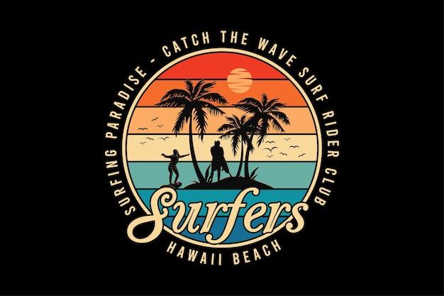 Surfers hawaii beach, design silt retro style