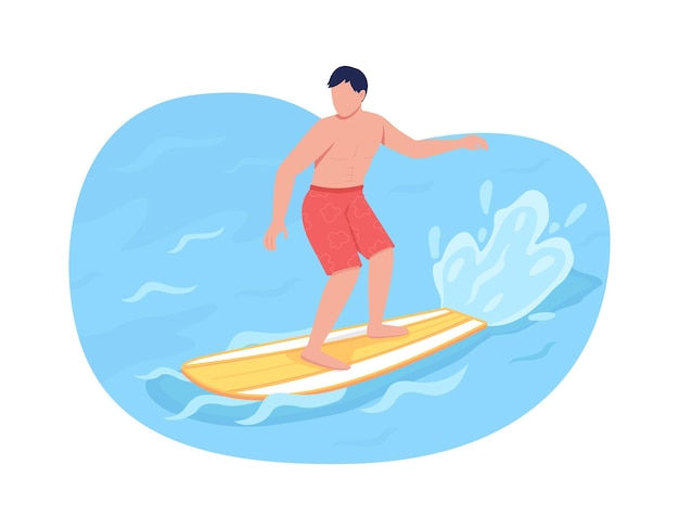 Серфинг 2d веб-баннер, плакат