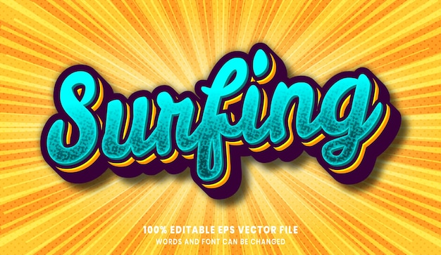 Surfing 3d editable text style effect