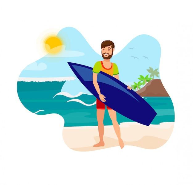Surfing, active recreation flat color illustration