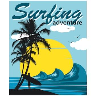 Surfing adventure illustration