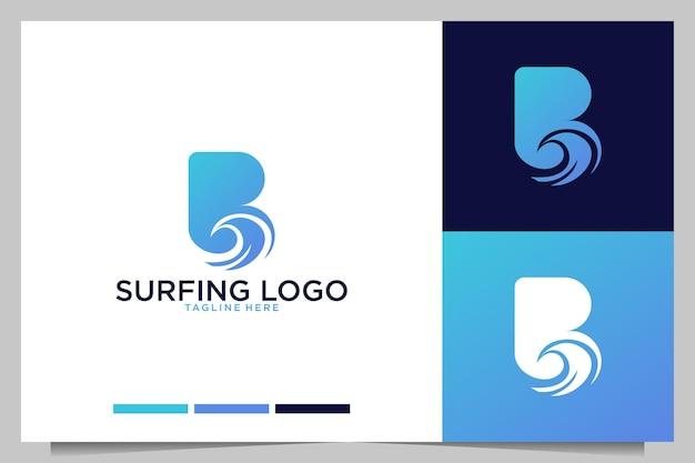 Серфинг и волна с дизайном логотипа буква b
