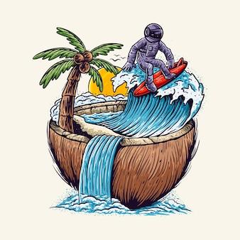 Surfing astronaut in the coconut beach handdrawn illustration