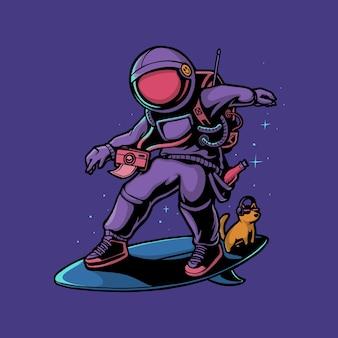 犬のイラストと宇宙でサーフィン宇宙飛行士