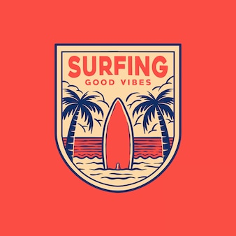 Surfing badge logo