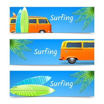 Surfing banners horizontal set