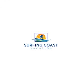 Surfing beach logo