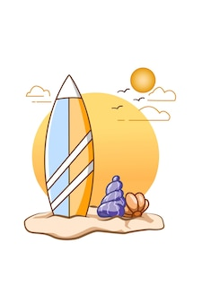 Surfing board in beach in summer cartoon illustration