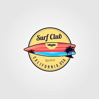 Surfing board logo with ocean view illustration design