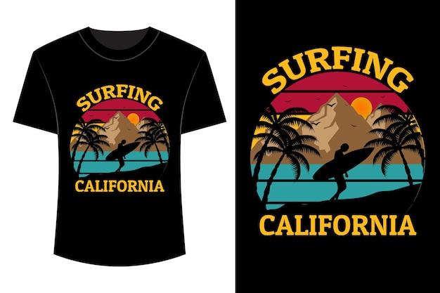 Surfing california t shirt design