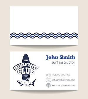 Surfing club business card template with logo