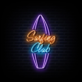 Surfing club neon logo neon  symbol