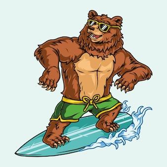 선글라스를 끼고 서핑보드에 서 있는 반바지를 입은 재미있는 곰과 함께 화려한 서핑