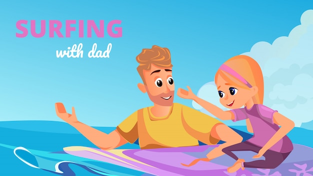 Surfing dad cartoon man with girl on surfboard