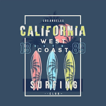 Surfing design california west coast beach  design on summer theme with palm tree background