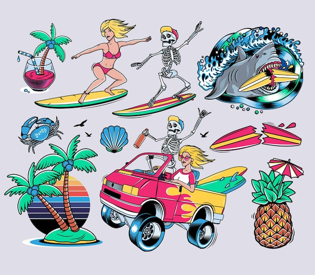 서핑 디자인. 크레이지 스켈레톤과 블론디 걸과 함께 서핑 밴.