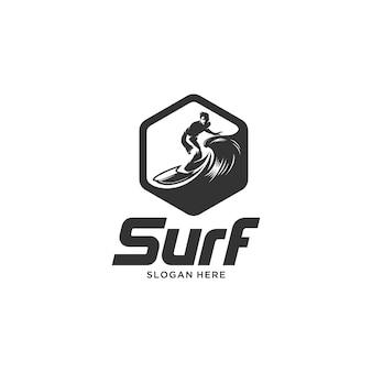 Surfing emblem silhouette logo illustration