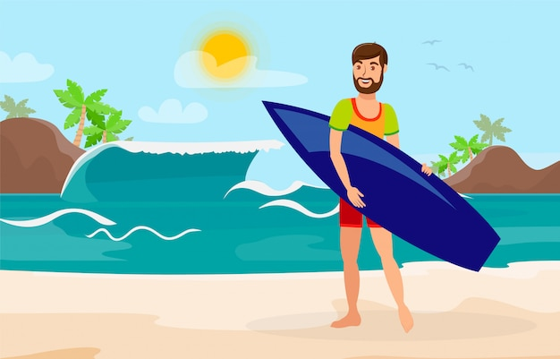 Surfing, extreme leisure flat color illustration