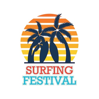 Surfing festival banner for surfing competition. vector illustration