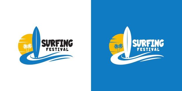Шаблон дизайна логотипа фестиваля серфинга