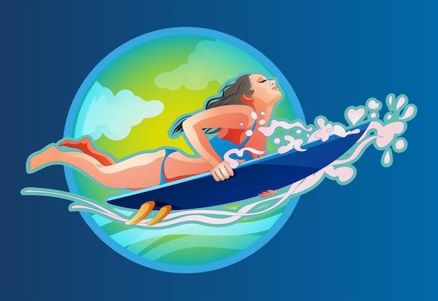바다에서 파도를 잡는 서핑 보드에 서핑 소녀. 서핑 보드와 함께 소녀는 파도 아래 다이빙. 서핑을 주제로 한 플랫 스타일의 벡터 세련된 아이콘입니다.